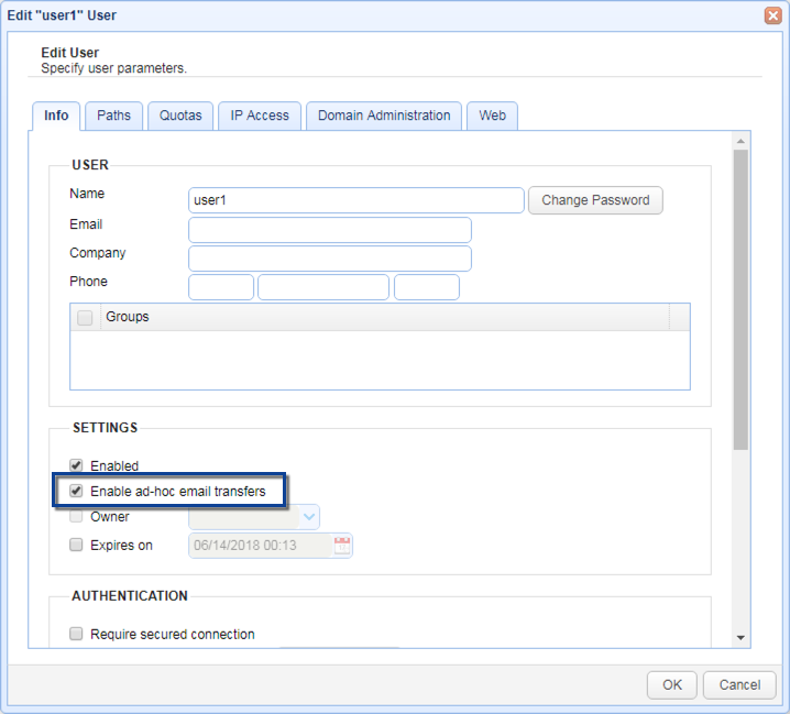 enable ad hoc email transfers