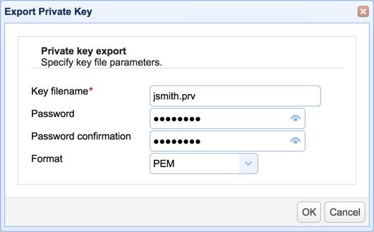 export private key password