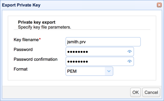 export private key password
