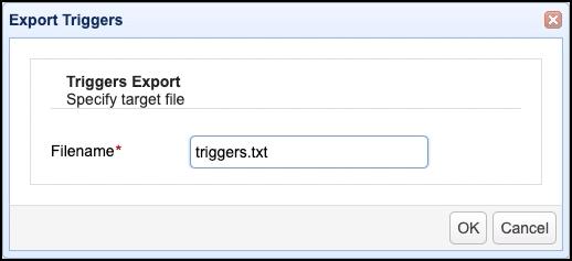 export triggers filename