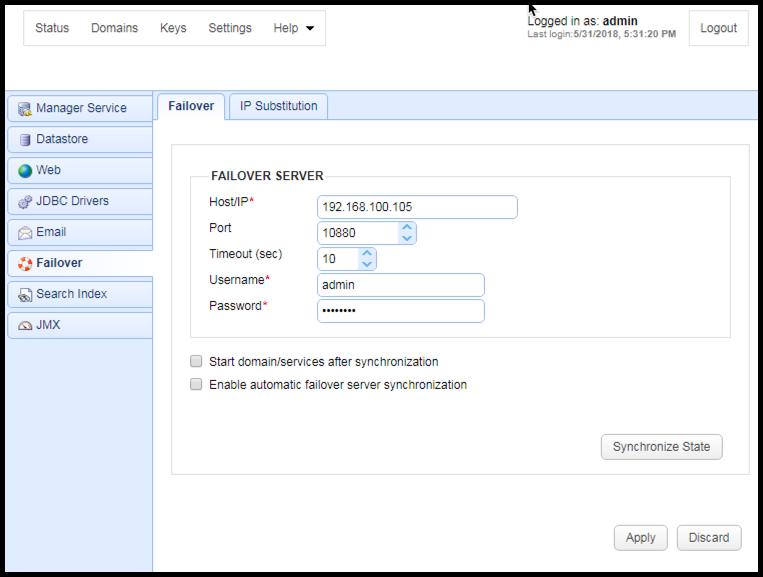 failover settings mft server