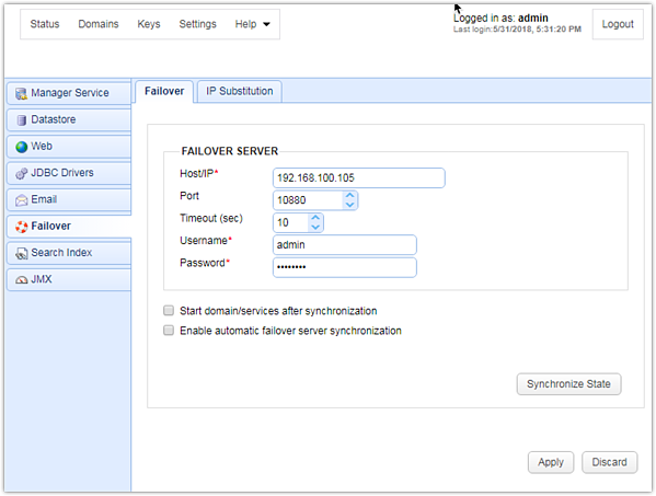 failover settings mft server
