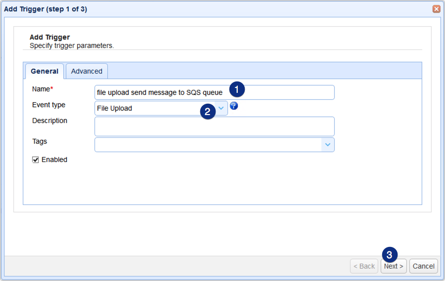 file upload event type for amazon sqs send message