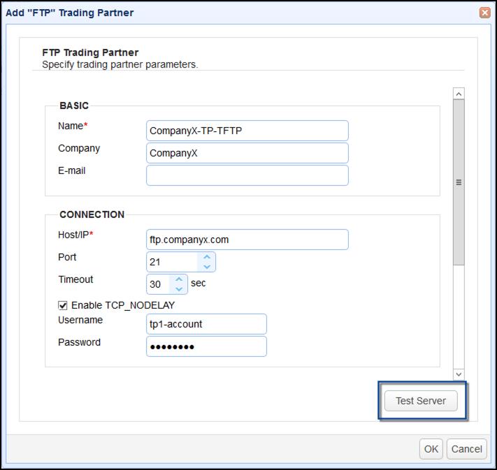 ftp trading partner parameters