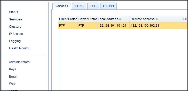 ftp-ftp reverse proxy service screen