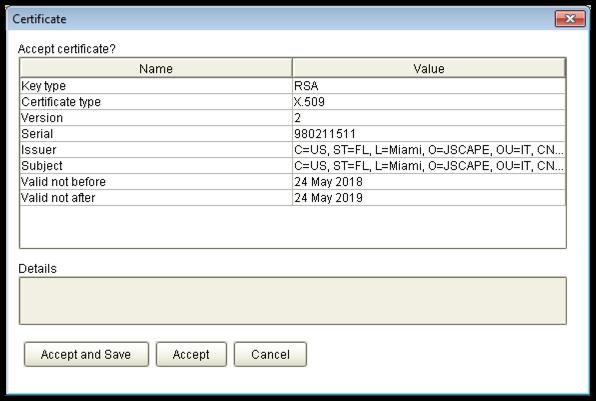 ftps ssl certificate