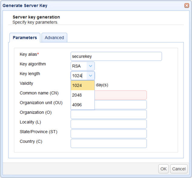 generate server key key lengths