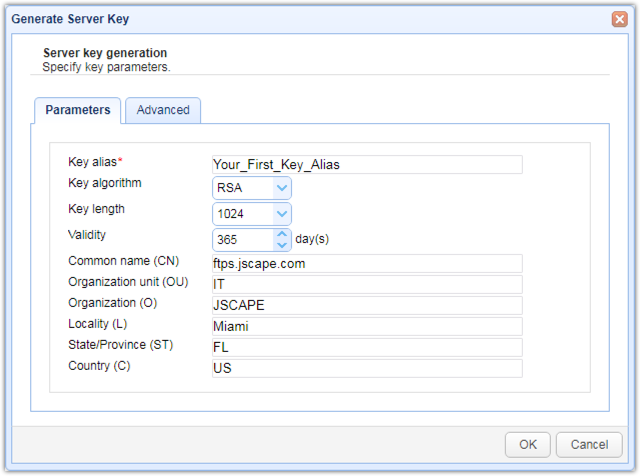 generate server key parameters
