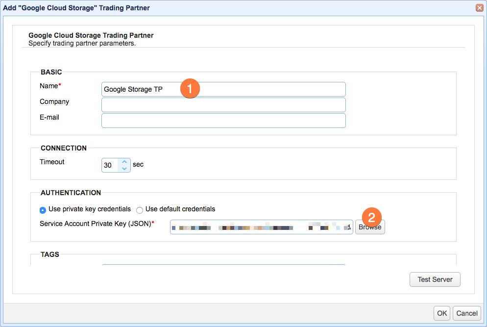 google cloud storage trading partner parameters
