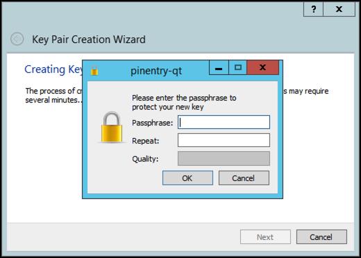 gpg4 win kleopatra creating key passphrase