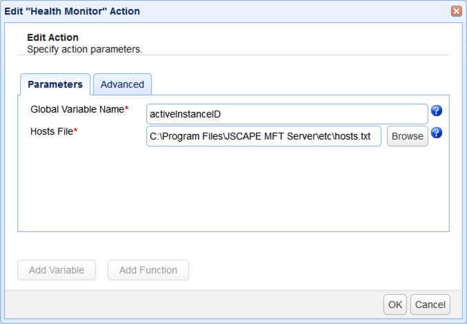 health monitor trigger action parameters