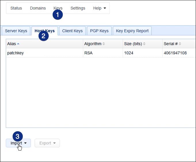 host keys import as2
