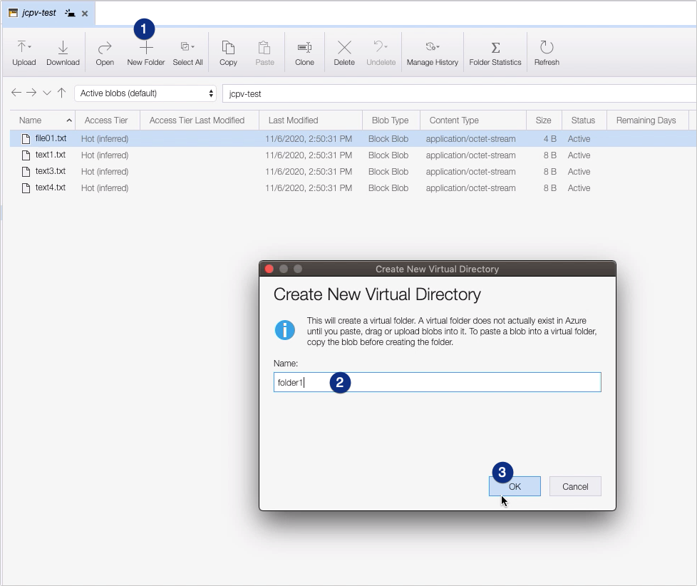 how to copy files to azure blob storage - create new virtual directory