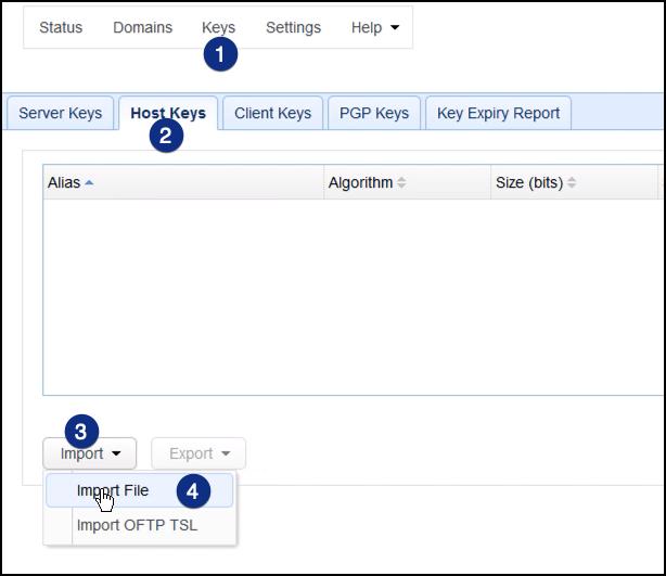 import host keys as2 server