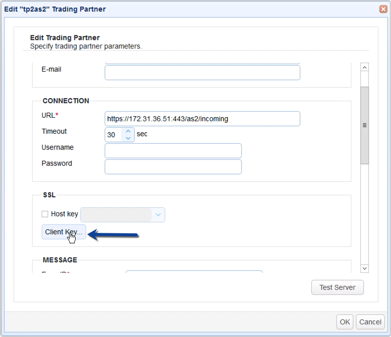 import private key to trading partner