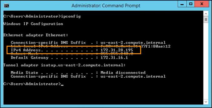 ip address of new windows host