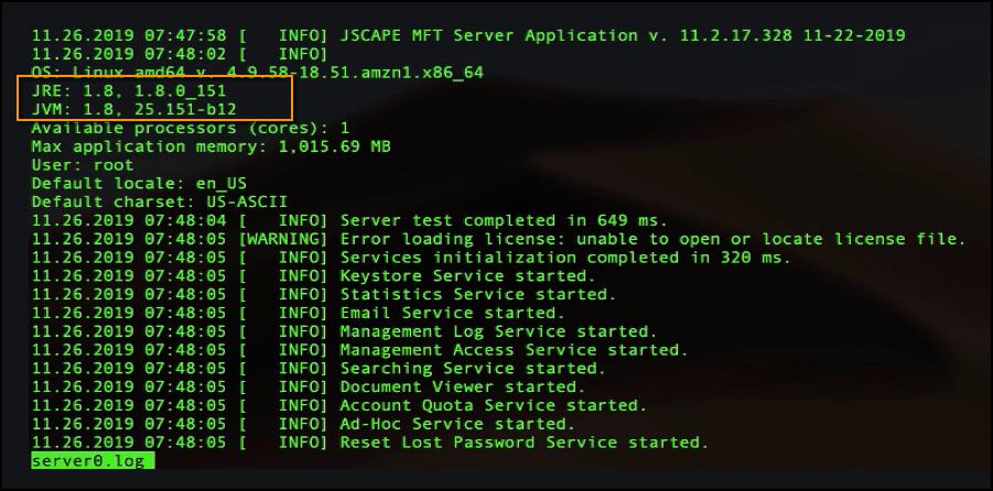 java version in server0 log-1