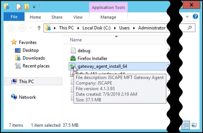 jscape mft gateway agent installer double click