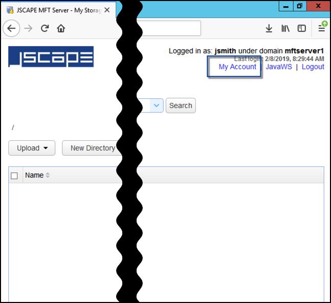 jscape mft server user web ui my account