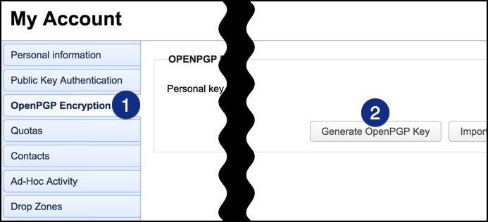 jscape mft server web user interface generate openpgp key