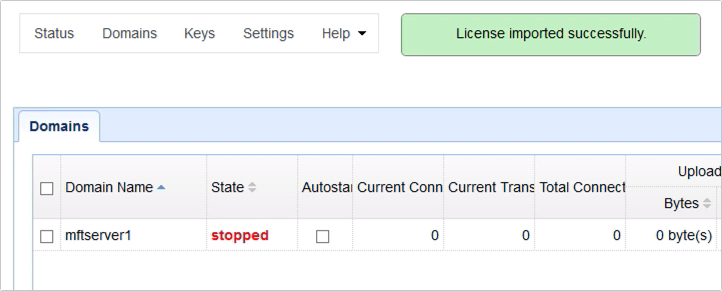 license imported successfully