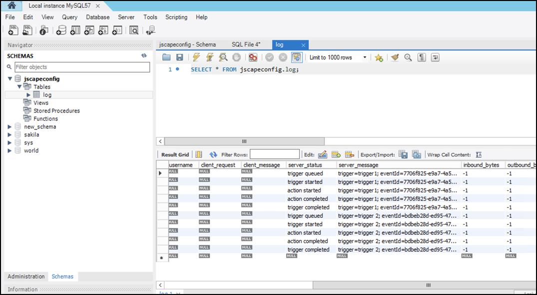 log entries in database logging