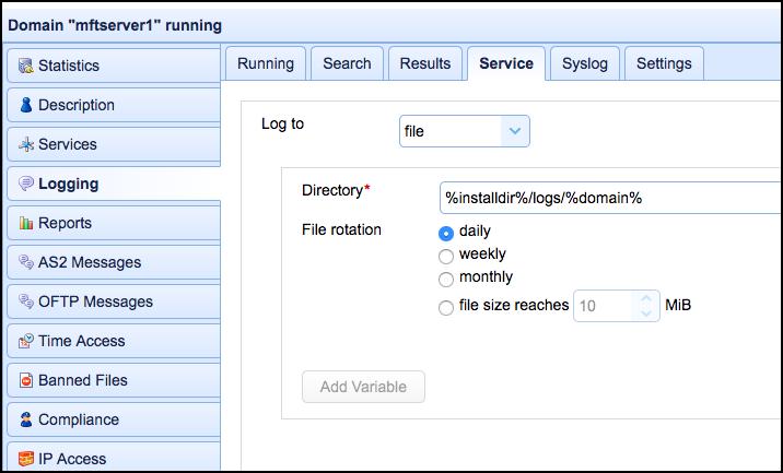 logggin service file directorhy