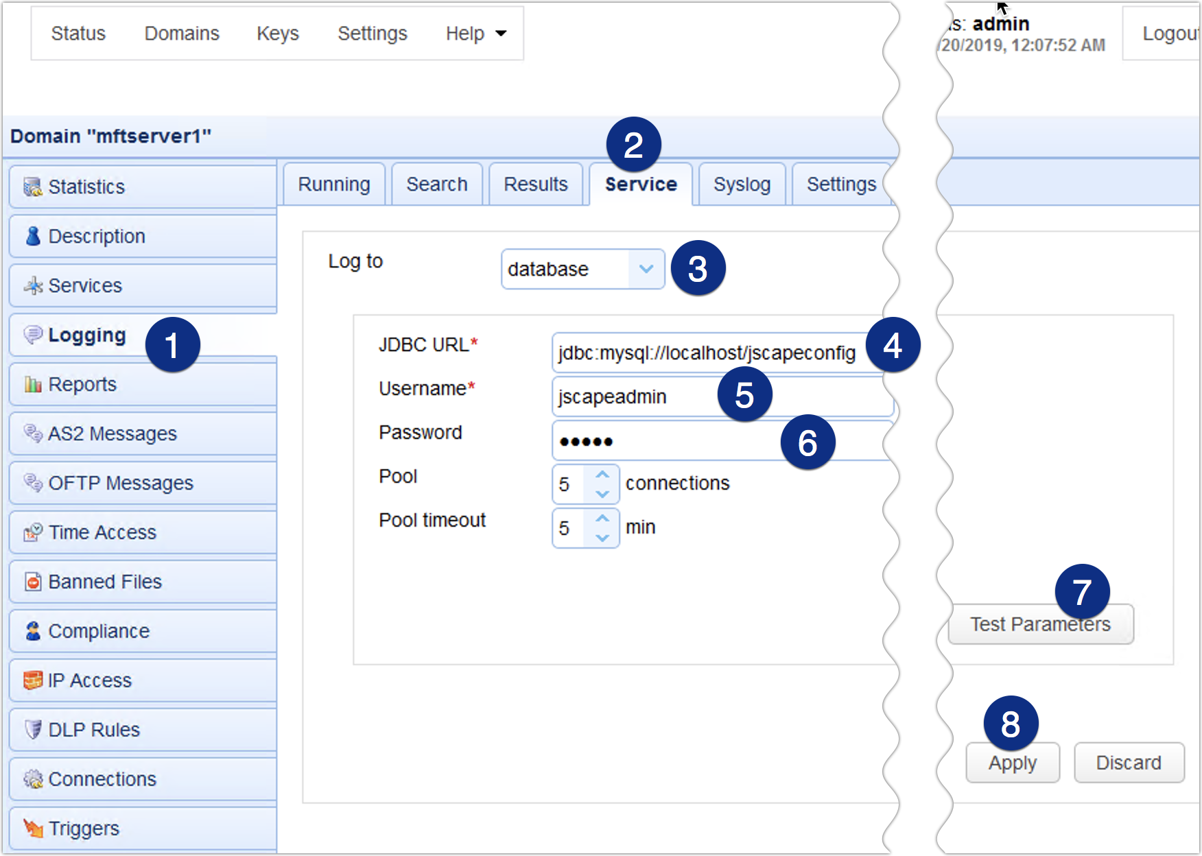 logging database logging mft server jdbc url