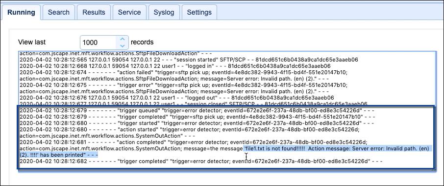 logs showing error detector trigger details