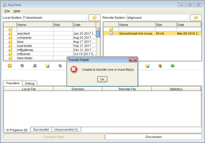 maria unable to download spreadsheet mft server