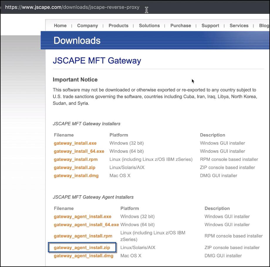 mft gateway agent zip installer download