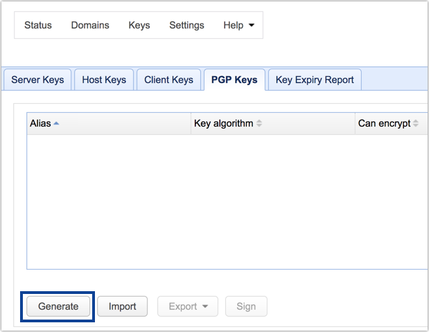 mft server pgp keys generate