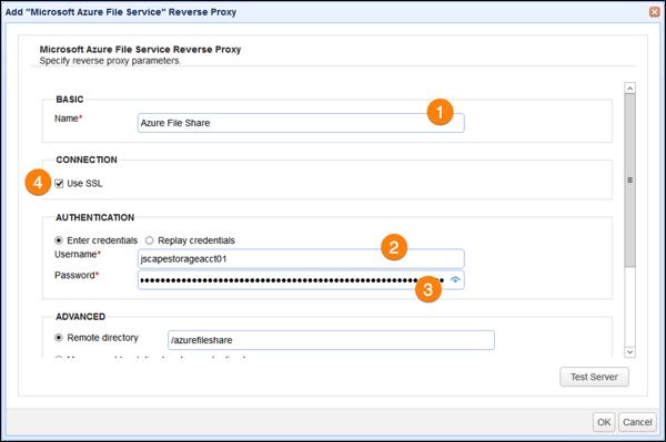 microsoft azure file service reverse proxy parameters