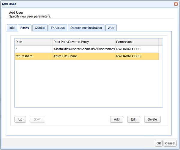 new azure file share virtual path