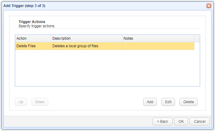 newly added delete files action