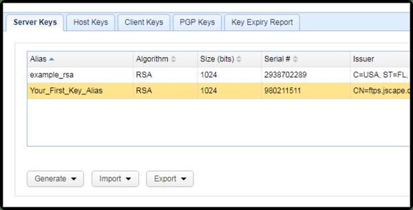 newly added server key