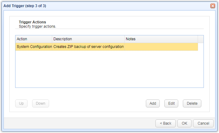 newly added system configuration backup trigger action