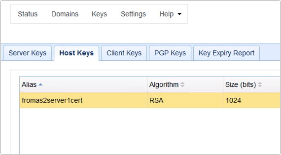 newly imported as2 digital certificate into host keys tab