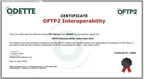 OFTP2 Interoperability Certificate