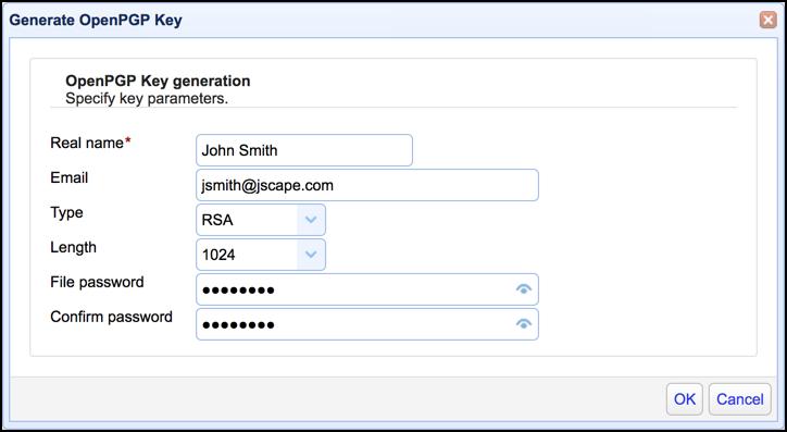 openpgp key generation by user in mft server
