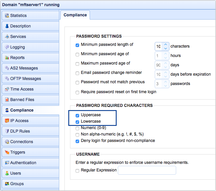 password compliance uppercase and lowercase characters