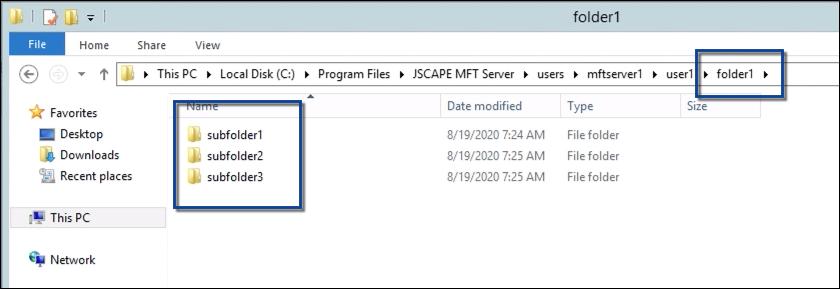 remote subdirectories in sftp server