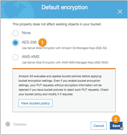s3 aes 256 - s3 bucket default encryption select