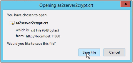 save digital certificate file as2