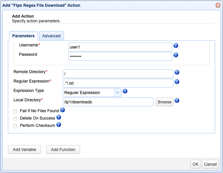 scheduling automated file transfers for files matching a regex 10