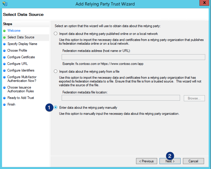 ADFS Add data about relying party manually