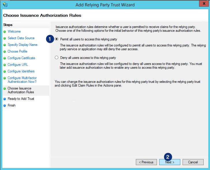 ADFS Permit all users to access this relying party