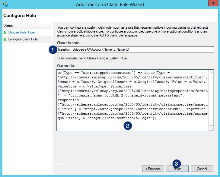 ADFS send claims using a custom rule