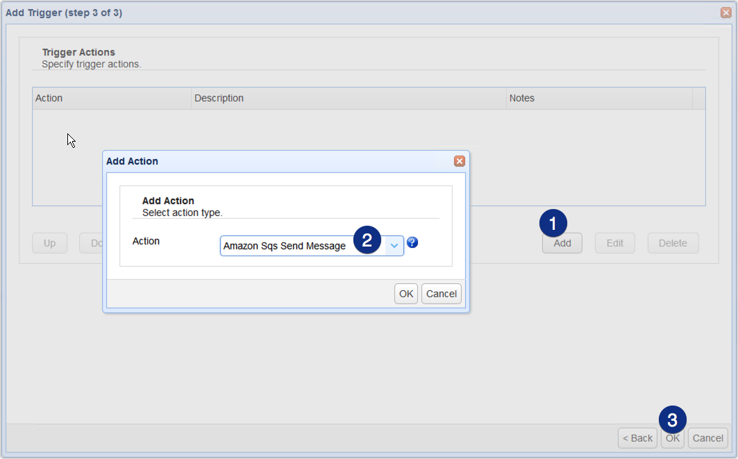 select amazon sqs trigger action