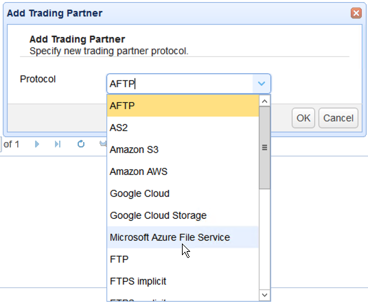 select azure file service for trading partner